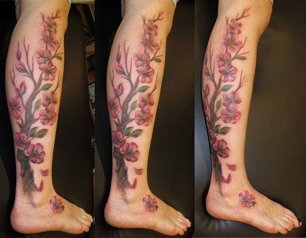 Cherry Blossoms Tattoo Sheer Tights Cherry Blossom Tattoo Blossom Tattoo Leg Tattoos