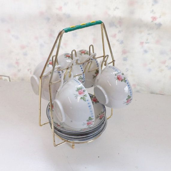Vintage Tea Cup And Saucer Storage Caddy Holder Display Gold Tone