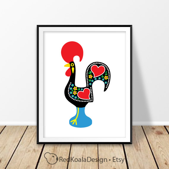 Galo De Barcelos Rooster Of Barcelos Digital Print Portugal Portuguese  Rooster Wall Art Red Cock Folk Art Wall Decor Good Luck Kitchen Decor
