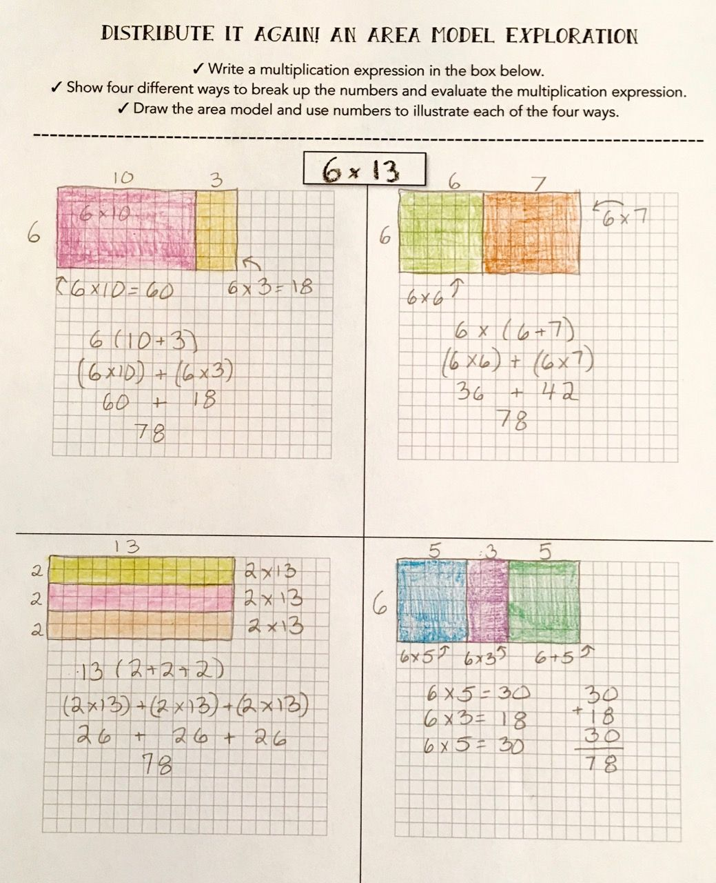 teaching multiplication with the distributive property math pinterest. Black Bedroom Furniture Sets. Home Design Ideas
