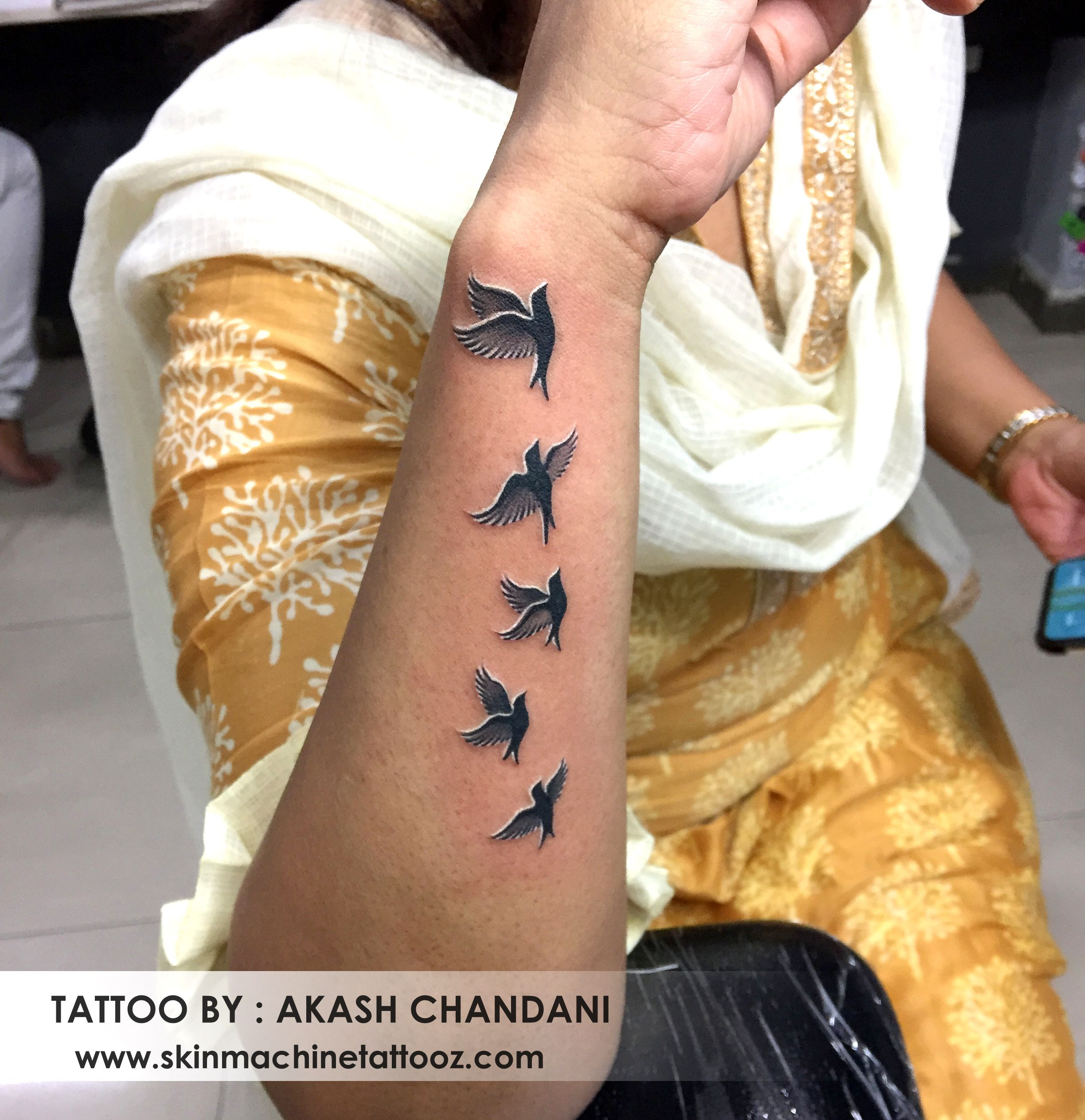 Flying Birds Tattoo By Akash Chandani Thanks For Looking Skin Machine Tattoo Studio Bhopal India Skinm Flying Bird Tattoo Birds Tattoo Tiny Bird Tattoos