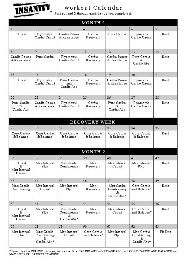 The Insanity Workout Calendar  Fitness    Insanity