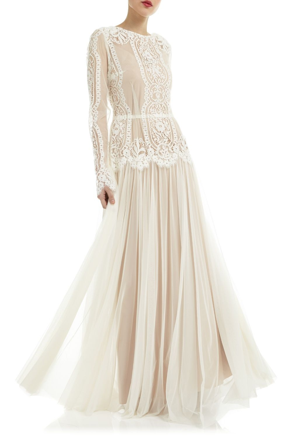 Contrast Lace Tulle Dress