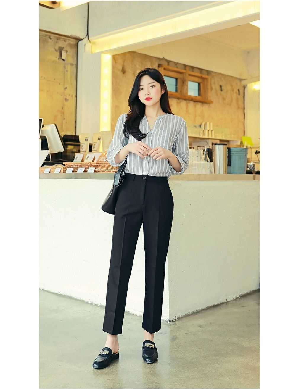 Mandarin Collar Stripe Blouse  HOTPING  Shop K-style fashion for