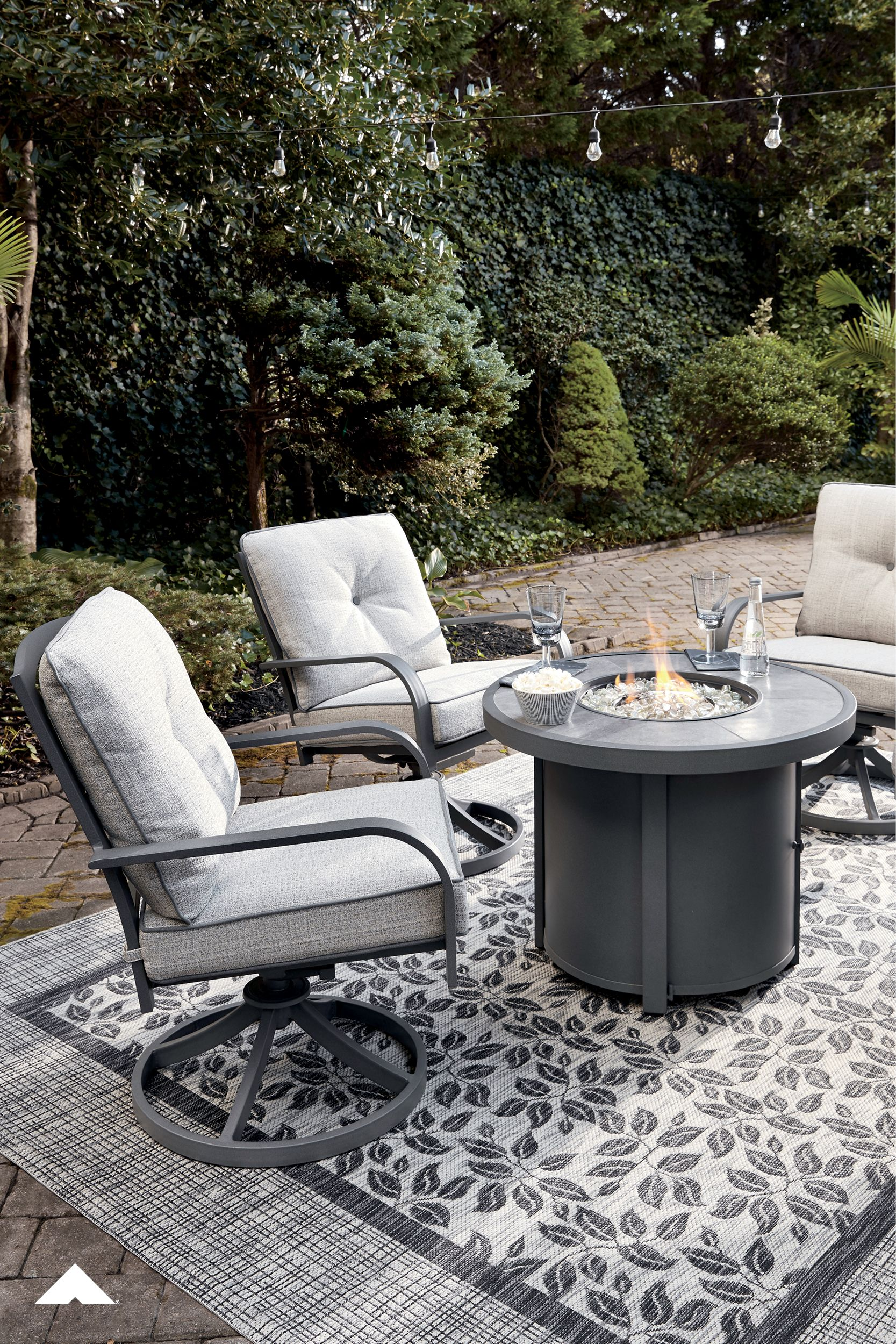 Donnalee bay dark gray round fire pit table and 2 swivel
