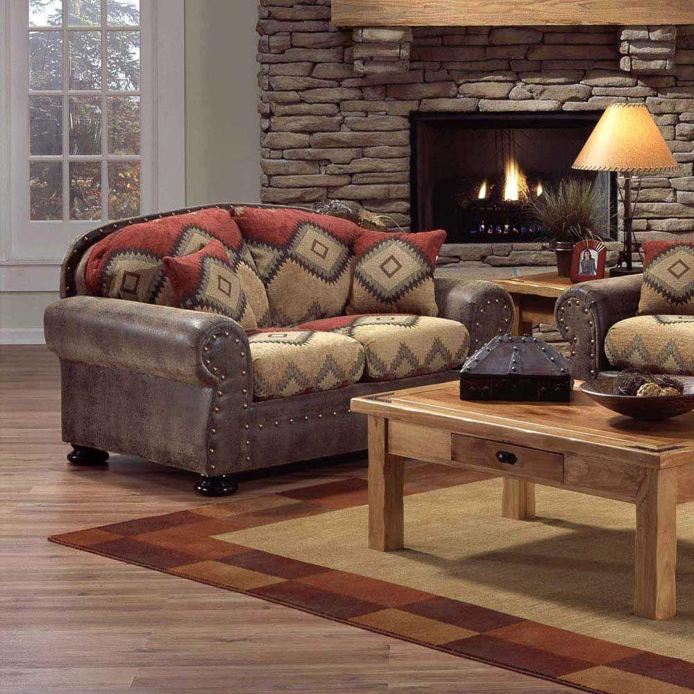 Southwest decor living room  southwest style furniture  Navajo Southwest Style Loveseat by