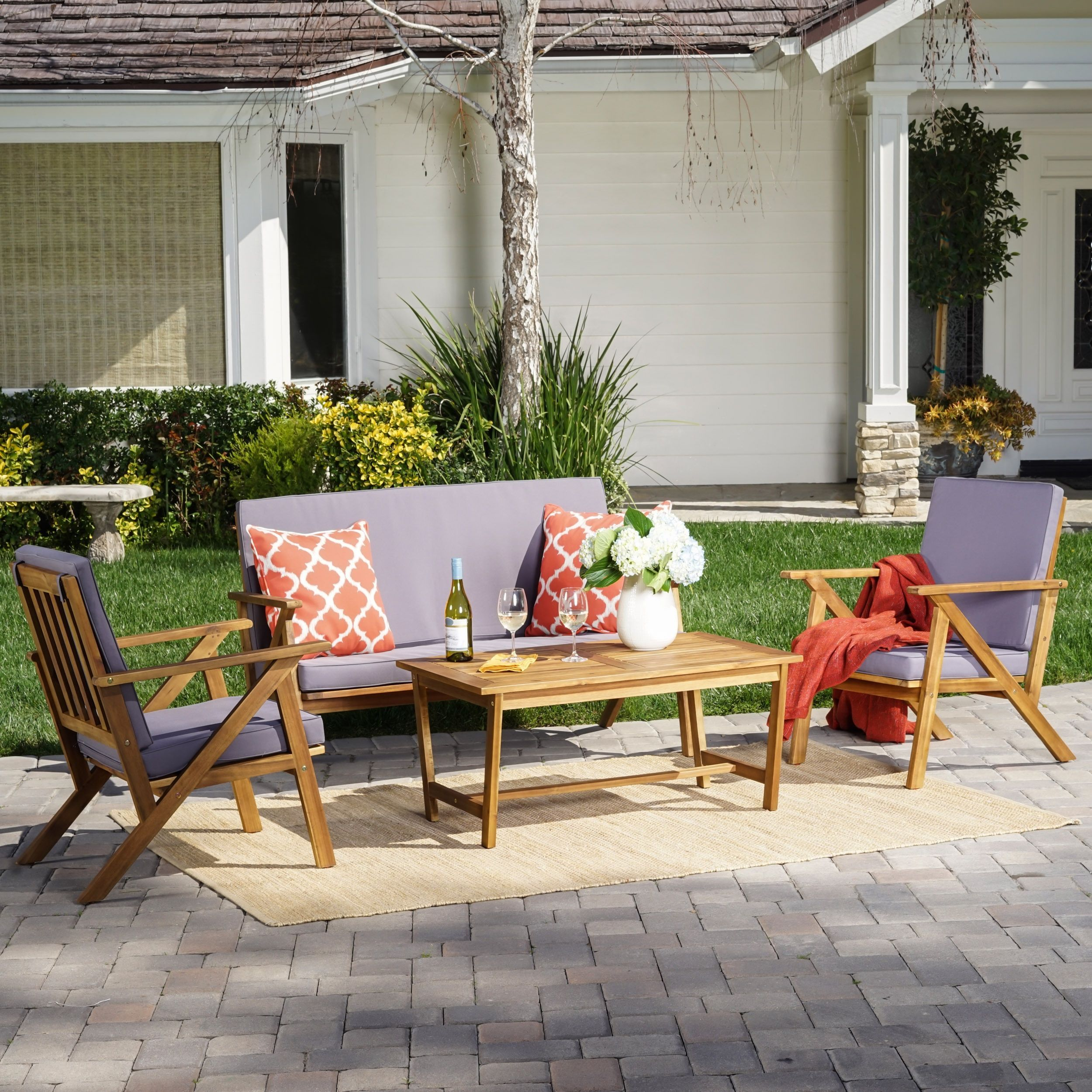 Panama Outdoor 4 Piece Wood Chat Set With Cushions By Christopher