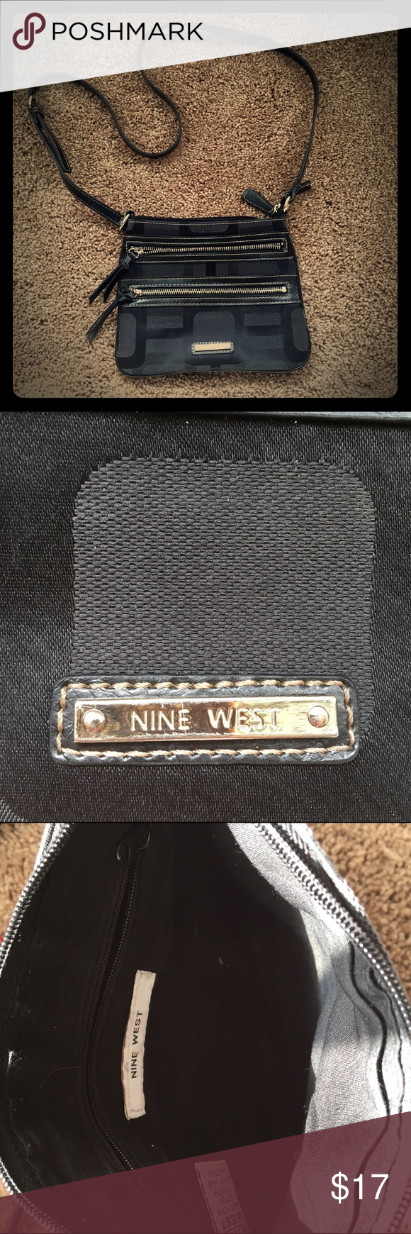 🖤Nine West purse🖤 Super cute bag someone gave me as a gift! I used it for one trip and haven't used it again! It's in great shape! It's about 29.5 inches from the top of the shoulder to the bottom of the bag. One small zip pocket on the side, but other than that, a pretty open bag on the inside. Both zippers work on the outside and the top. Nine West Bags Crossbody Bags