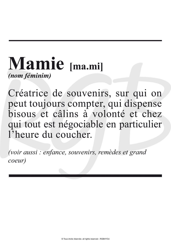 Affiche Définiton Mamie Texte à Télécharger Par Rgb4you