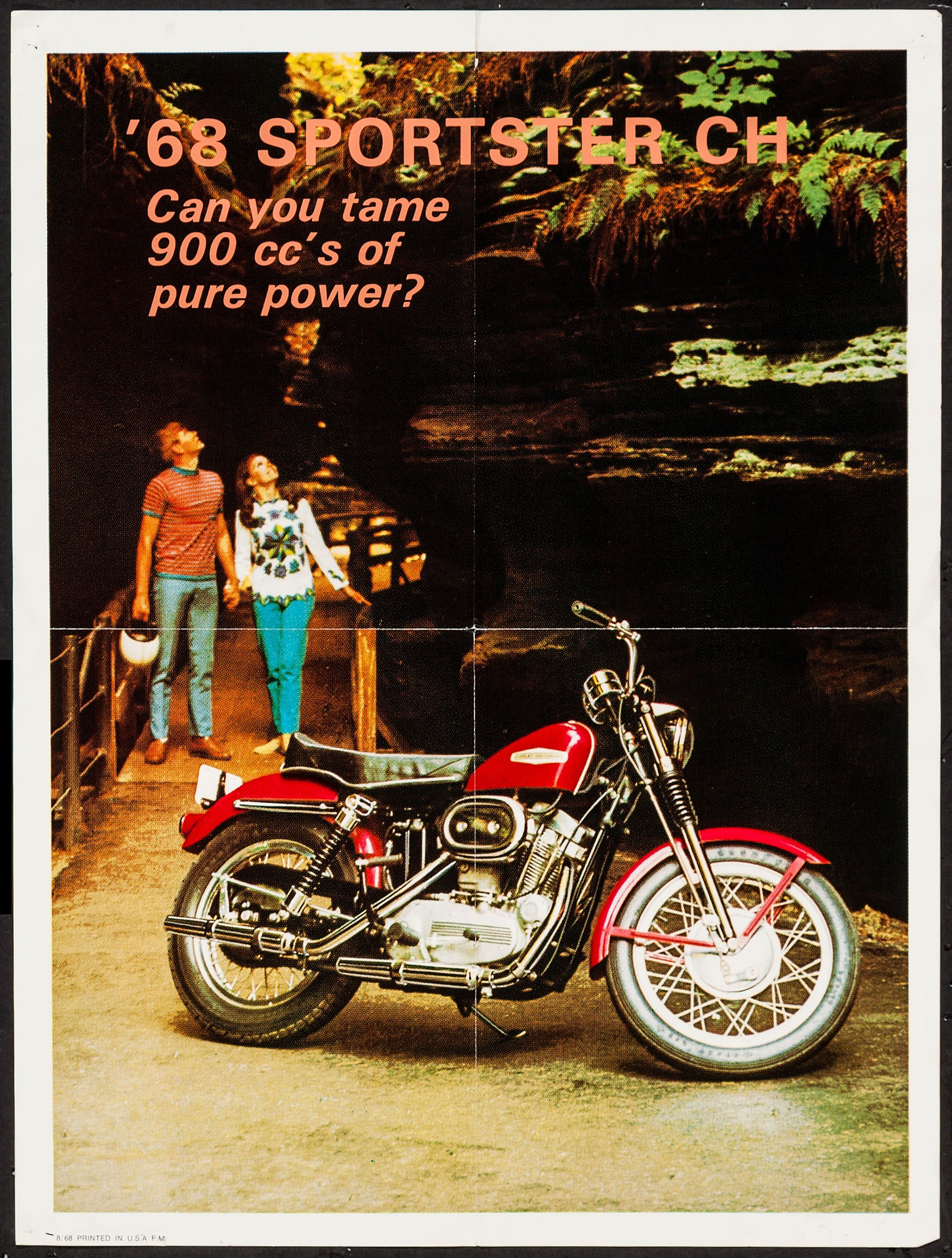 "1968 Sportster (Harley Davidson, 1968). Advertising Poster (18"" X 24"").  Miscellaneous. With the tagline, ""Can you tame 900 cc's of pure power?"