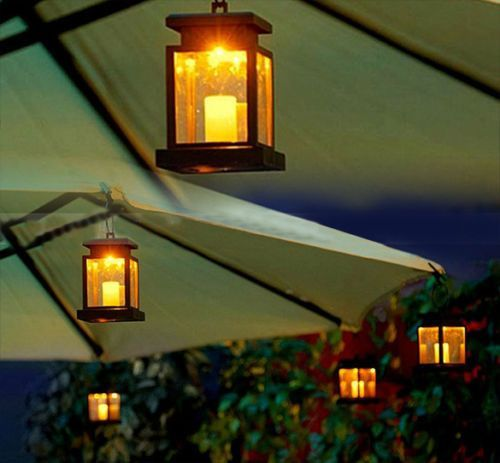 Home House Outdoor Candle Lantern Solar Powered Landscape Umbrella Tree  Lantern Lamp LED Bulbs Light