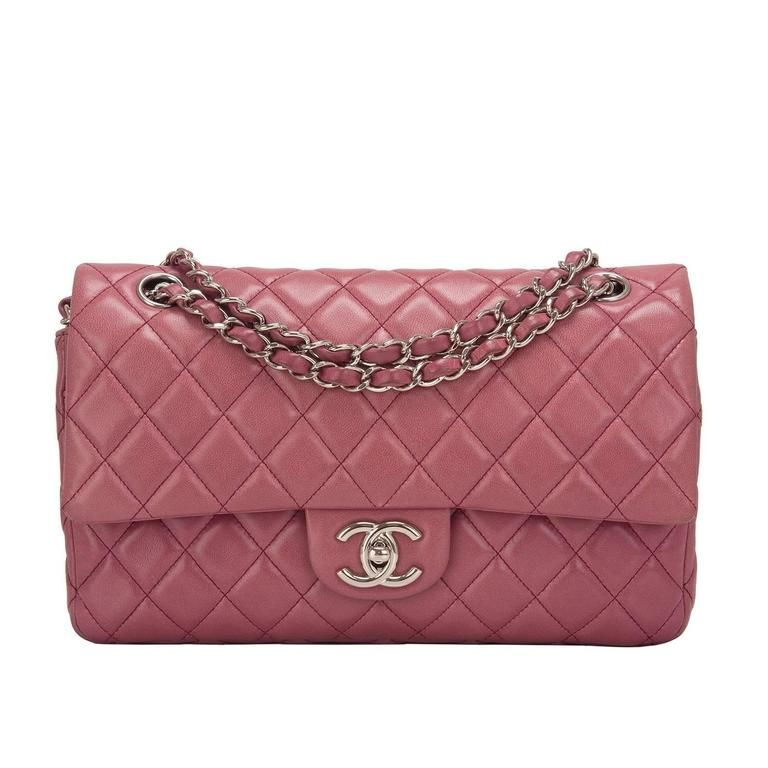 6beb946db3af Chanel Rose Fonce Lambskin Medium Classic Double Flap Bag | From a  collection of rare vintage