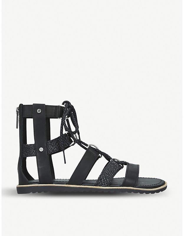 bdd3be734 Sorel Ella snake-embossed leather and suede gladiator sandals in ...