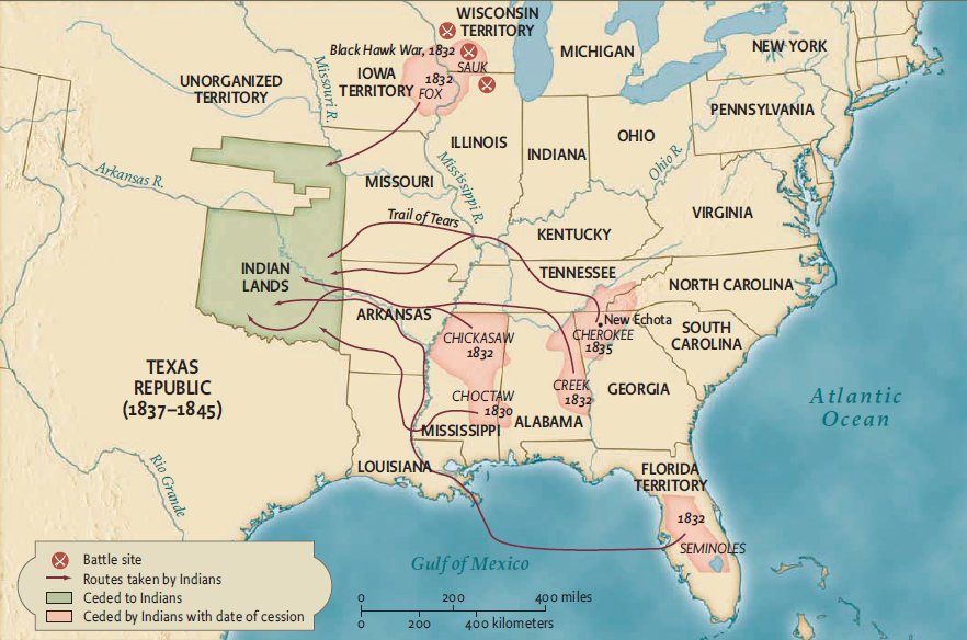 This map shows the routes and areas of US Native American relocations in the 1830s