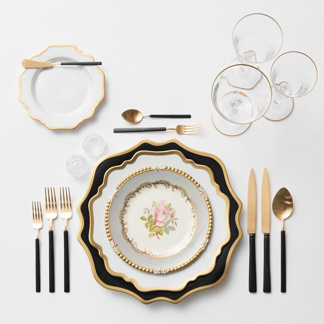 Anna Weatherley Chargers in Black/Gold + AW Dinnerware + The Botanicals Collection Vintage China + Axel Flatware in 24k Gold/Matte Black finish + Gold ...  sc 1 st  Pinterest & Anna Weatherley Chargers in Black/Gold + AW Dinnerware + The ...