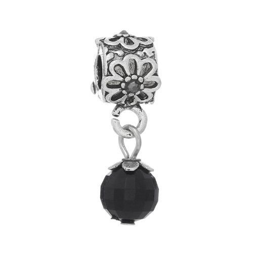 Flower With Black Acrylic Ball Charm Bead