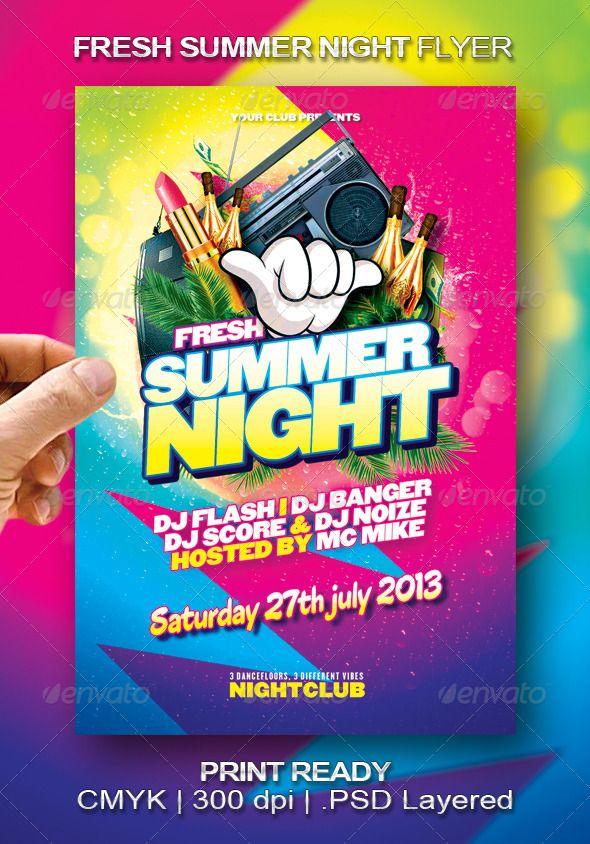 Fresh Summer Night Flyer  Flyer Design Templates Event Flyers