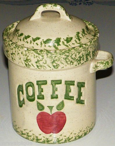 24 99 Beautiful Green Sponged Ceramic Le Coffee Canister With Spoon Holder Ebay