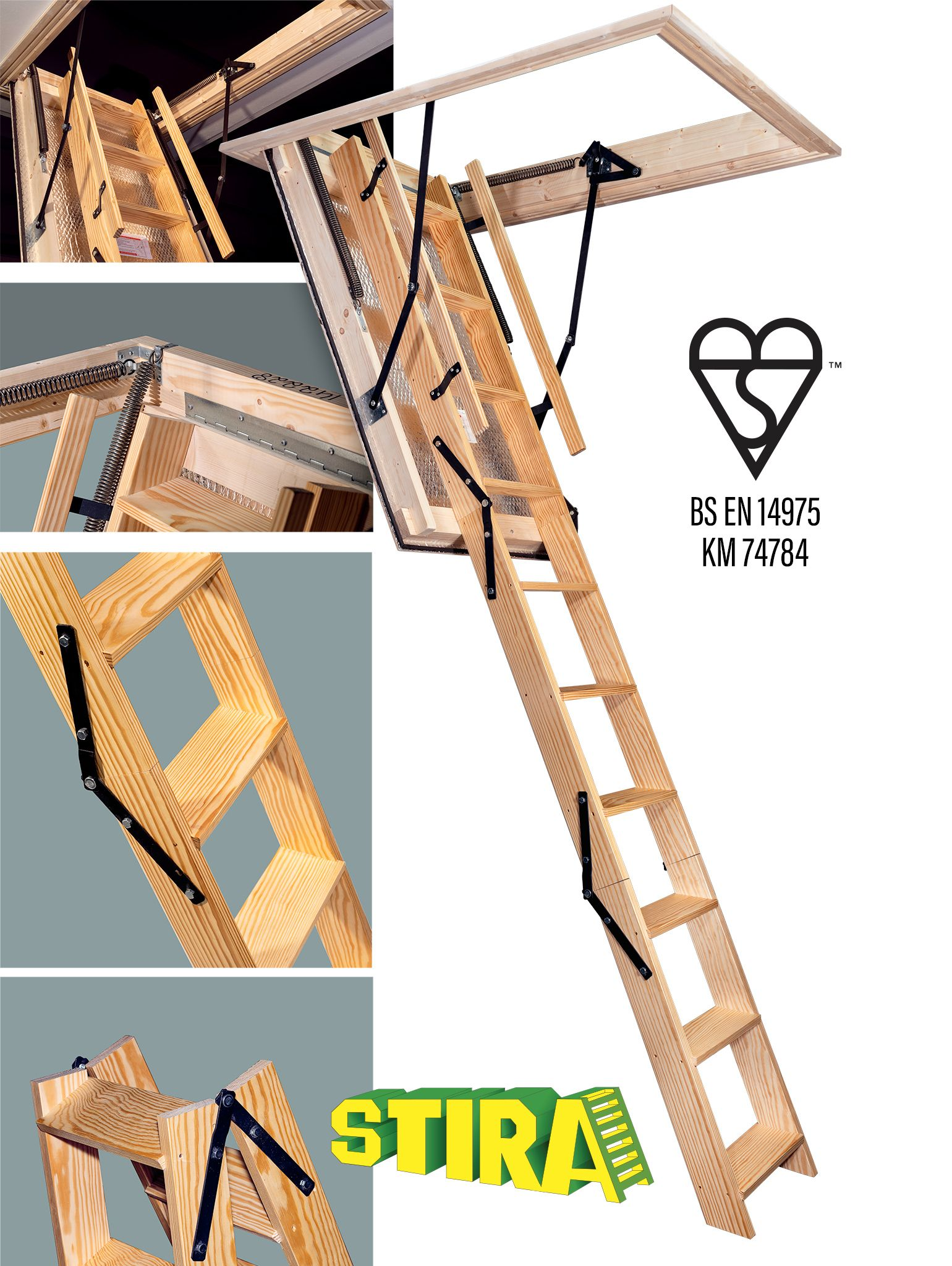 Heavy Duty Stira Folding Attic Stairs Bigger Ladder With 120mm Deep Steps Heavy Duty Hinges And Double Spr Folding Attic Stairs Attic Stairs Attic Conversion