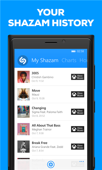 Windows phone xap games and xap apps Shazam 4.4.1.12 APPX
