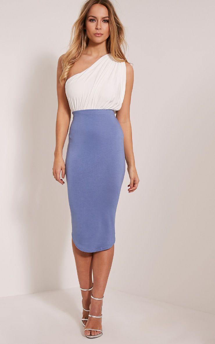 Ariana Petrol Blue Curved Hem Midi Skirt Image 1