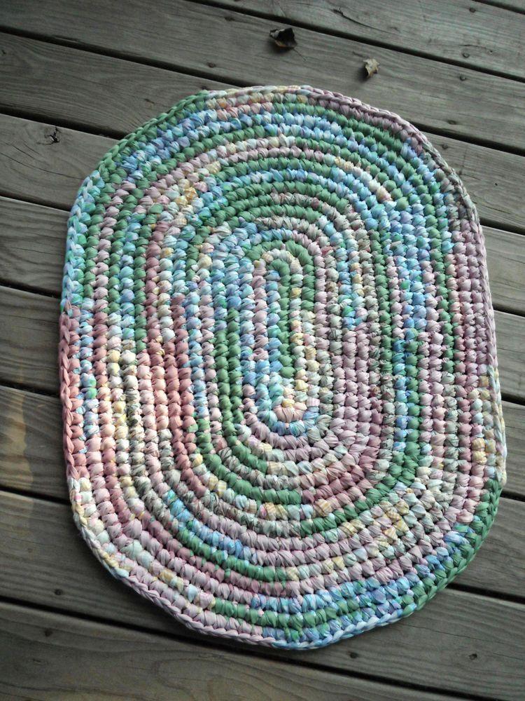 Handmade Crochet Rag Rug blues greens pinks