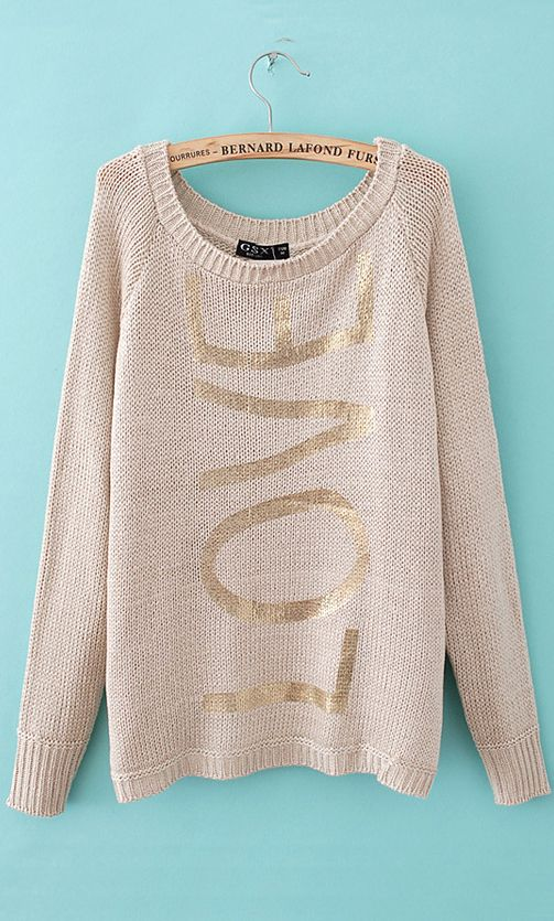 Gilt letters hollow out  round neck sweater