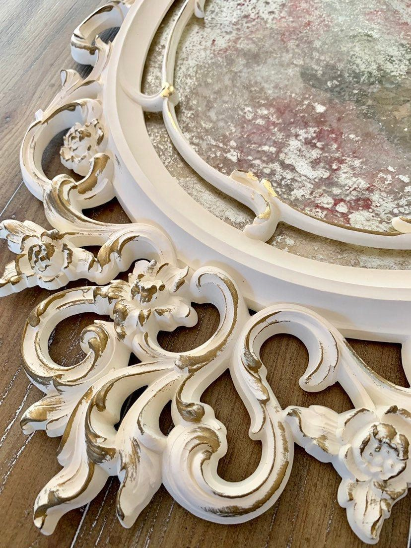 Photo of Vintage French Country Mirror Collage Pink Roses – Shabby Chic Decor – Ornate Creamy White Mirror with Aged Gold Trim