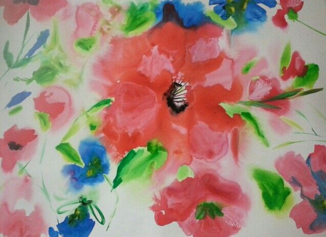 New watercolor flower painting