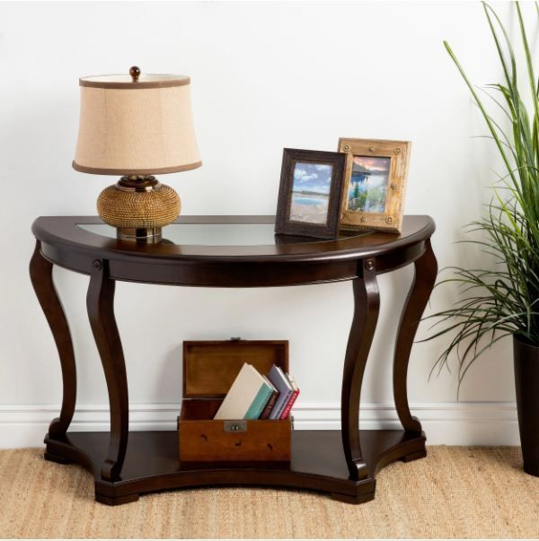Console Table Wood Curved Elegant Accent Entry Cherry: Entryway Table Console Curved Wood Accent Elegant Entry