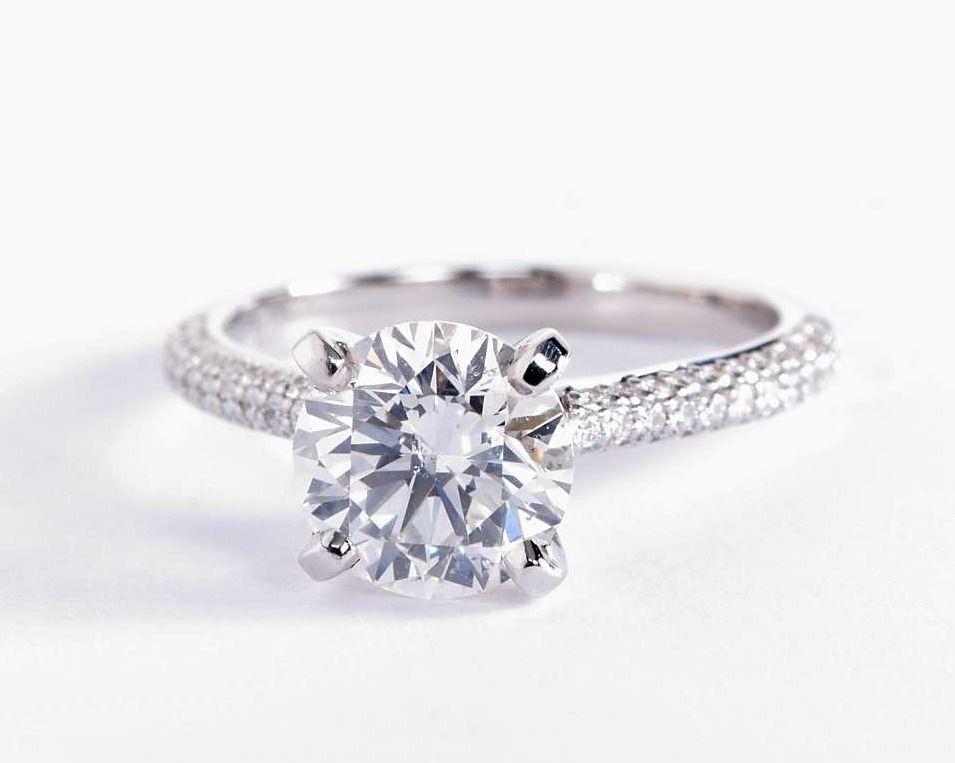 1 81 Carat Diamond In The Trio Micropave Diamond Engagement Ring Blue Nile Blue Engagement Ring Bluenile Engagement Ring Dream Jewelry