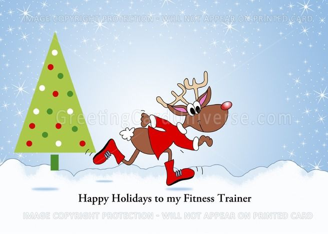 For Fitness Trainer Christmas Card Running Reindeer Tree Customizable Card Christmas Cards Tree Cards Cards