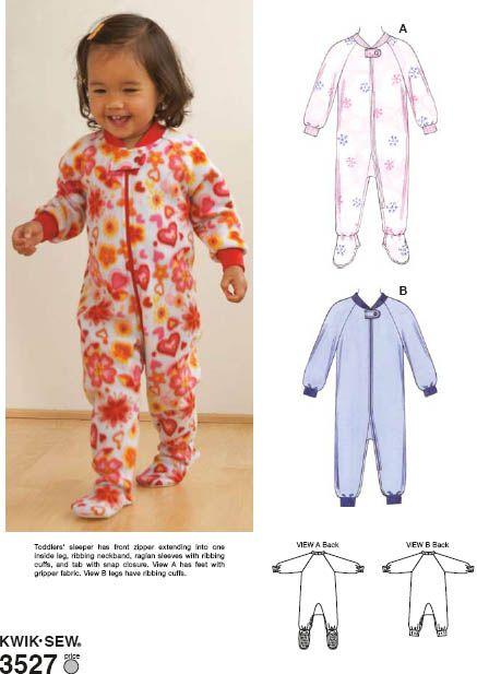 Footie pajama pattern Kwik Sew 3527. 13913ade1c
