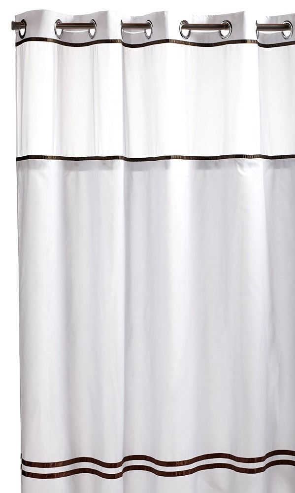 Hookless Shower Curtain With Built In Liner White Brown