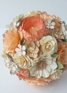 Attractive Paper Bouquet   Paper Flower Bouquet   Wedding Bouquet   Peach And Coral  With Splashes Of Champagne   Custom Made   Any Color
