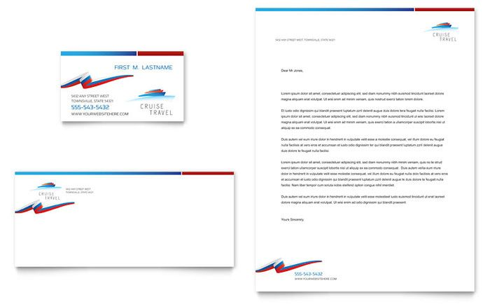 Cruise Travel Business Card And Letterhead Template Design By