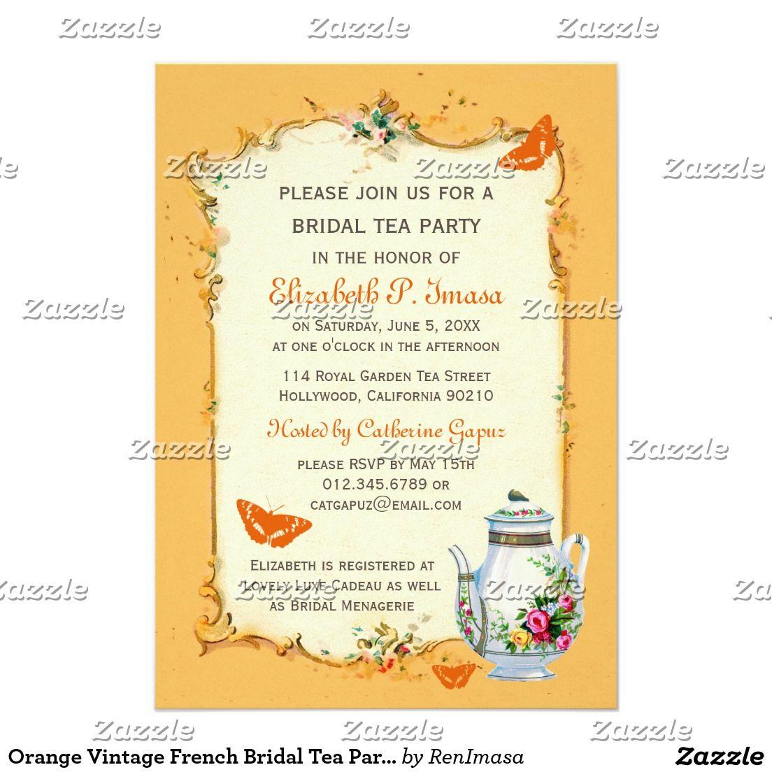 Orange Vintage French Bridal Tea Party | WEDDING: BRIDAL SHOWER TEA ...