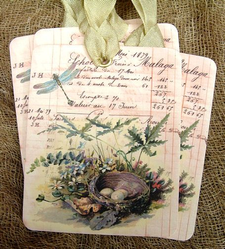 french bird nest tags- lovely