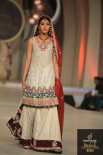 Wedding Dress Bridal Dresses Designs Beige Red Floral Pattern - Pakistani Designer Wedding Dresses