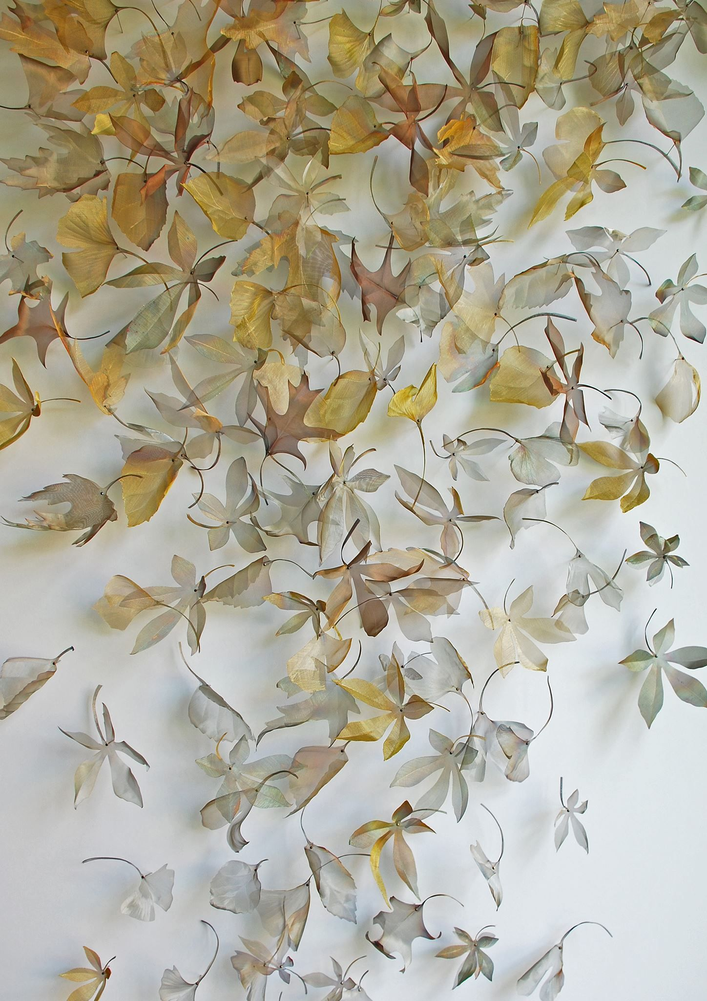 Ethereal Woven Metal Leaf and Seed Installations by Michelle Mckinney wire  sculpture multiples metal leaves installation