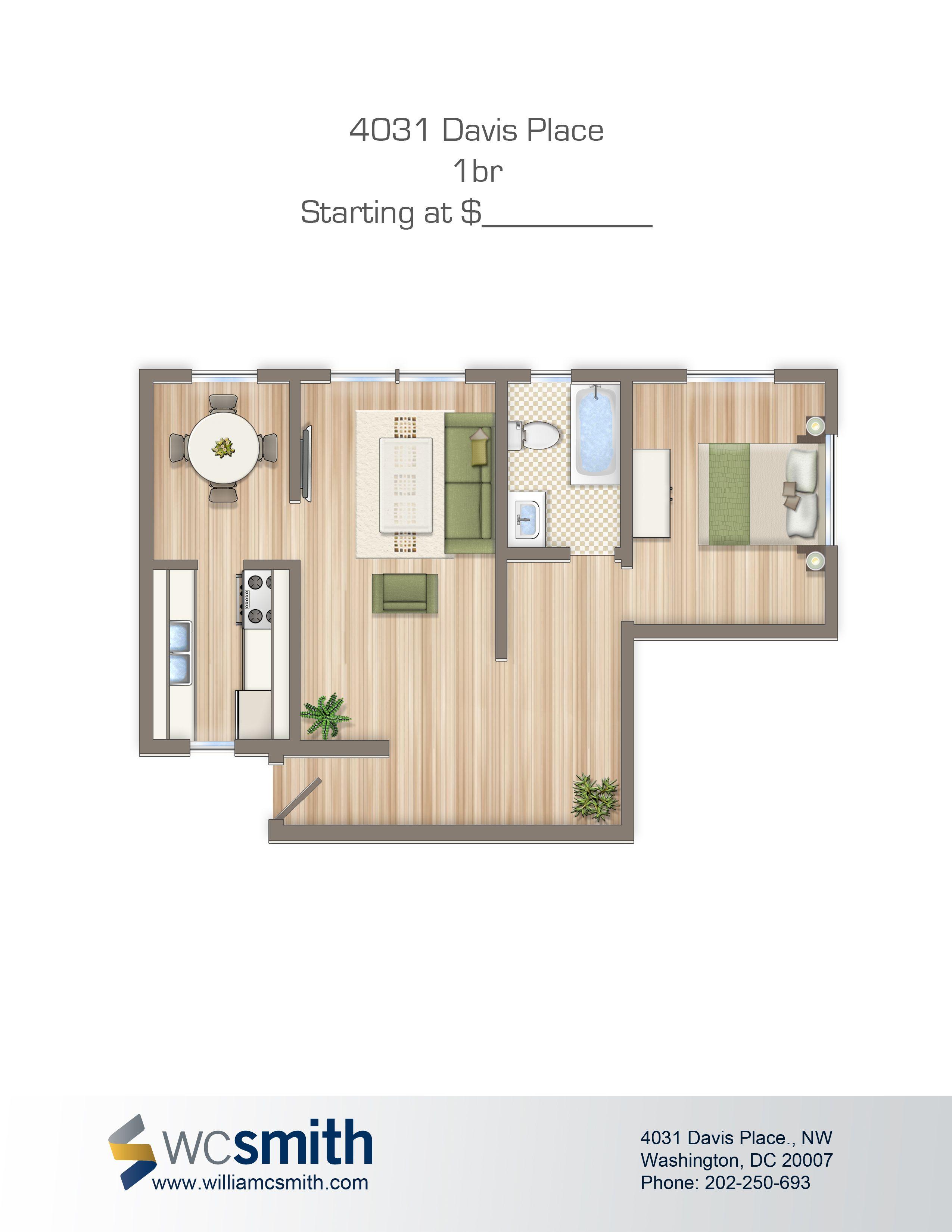 One Bedroom Floor Plan 4031 Davis in Northwest