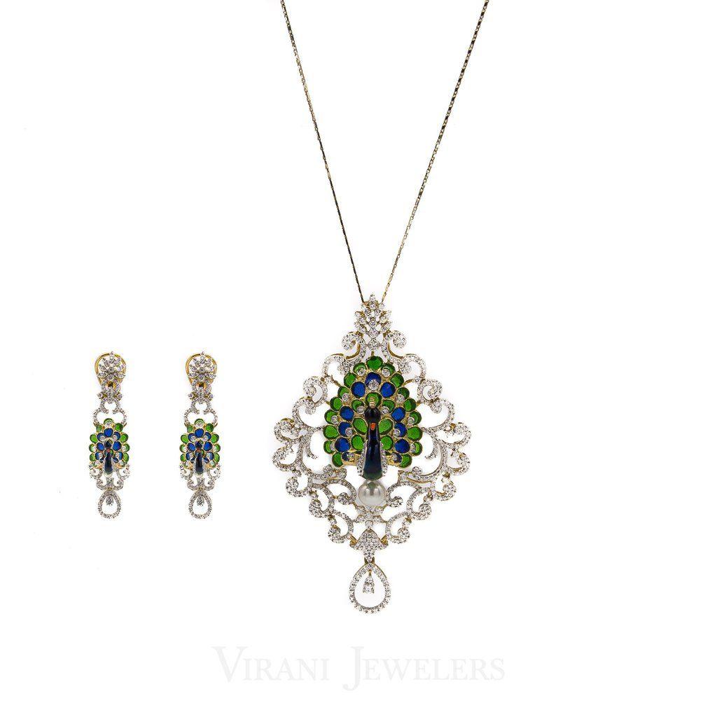 K peacock diamond set traditional gold pendant and matching