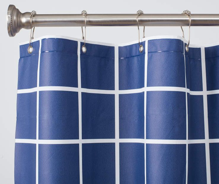 white grid pe shower curtain