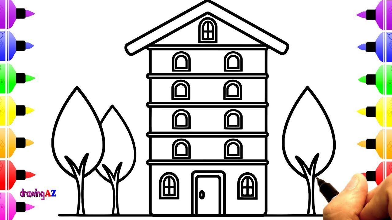 Rainbow House Coloring Pages Collection