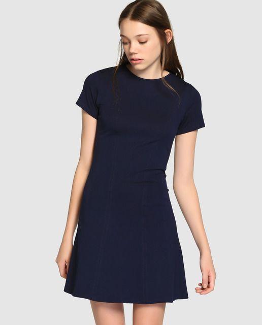 74bc9a9594119 Vestido de mujer Easy Wear de manga corta en color azul marino ...