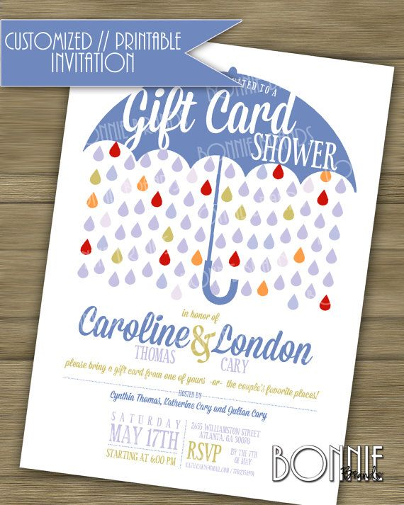 customized printable couples wedding shower invitation gift card theme blue bonniebrands weddingshower giftcard