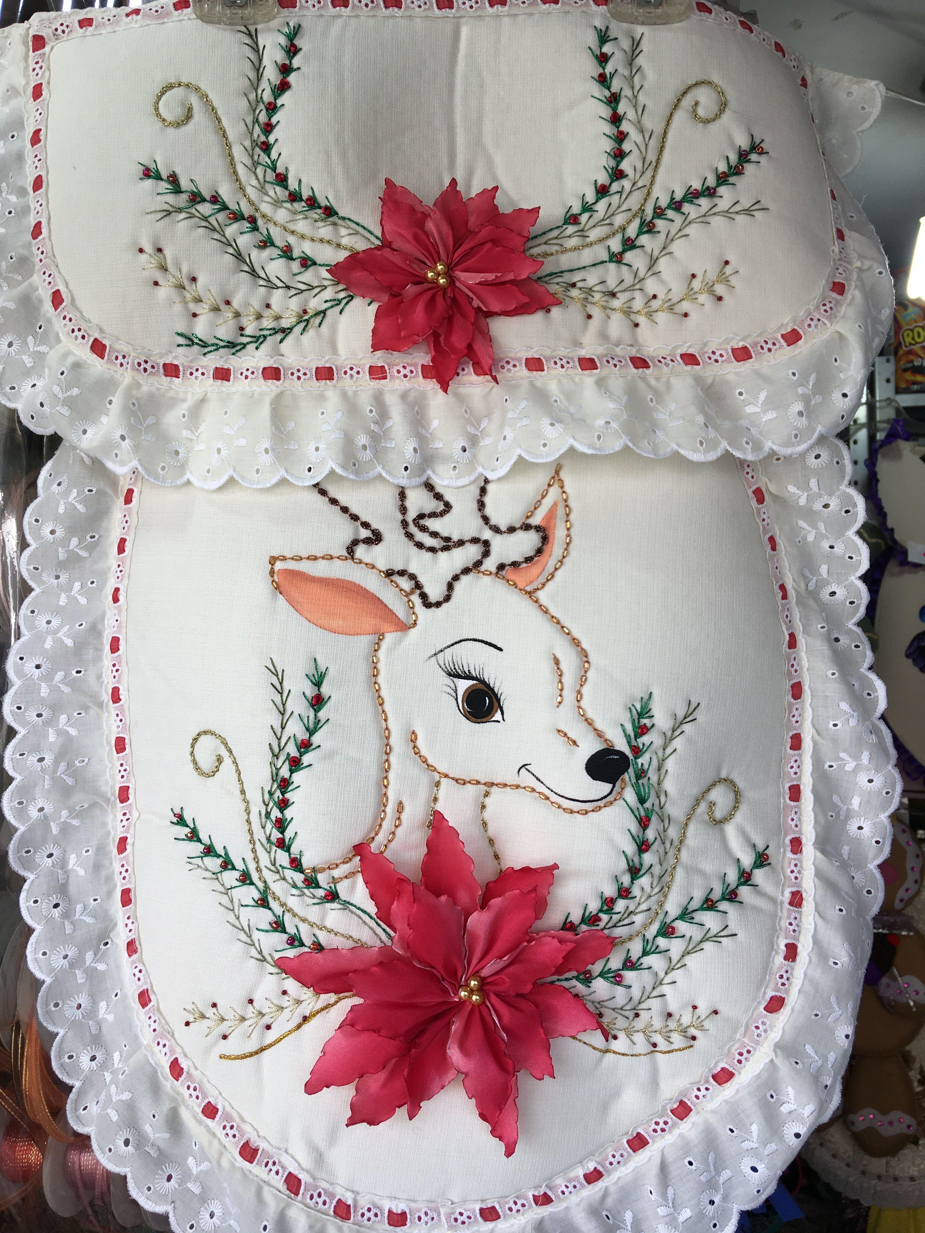 Juego De Bano Navideno Bordado Bordado De Cinta Quilts Navidad