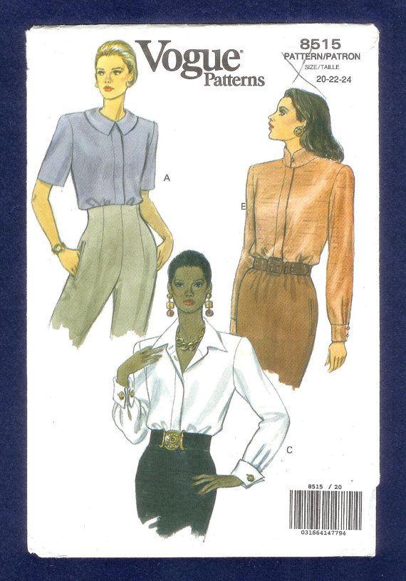 Vintage 1990's Vogue 8515 Blouse Size 20 22 24  UNCUT by lucysbud, $8.00