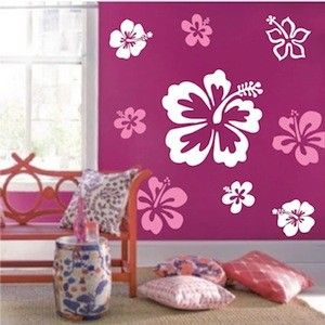 Hibiscus Flowers Wall Decals Baby Shop Listnursery Flower Wall