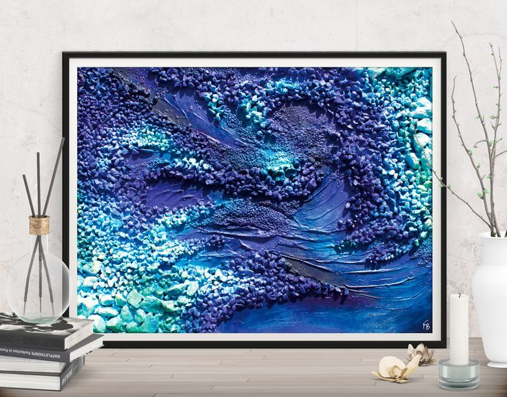 Contemporary Bathroom Art Prints digital prints blue abstract decor, extra large download modern